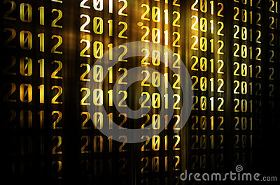 Golden happy new year 2012 with gold background