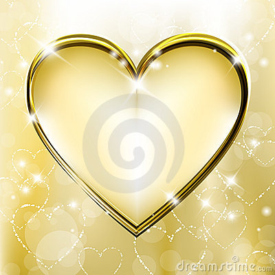 Free Golden Heart Royalty Free Stock Image - 22018196