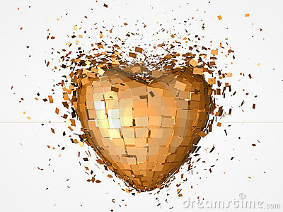 Golden heart explosion