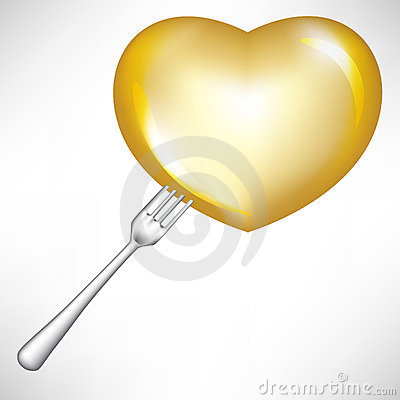 Golden heart in fork