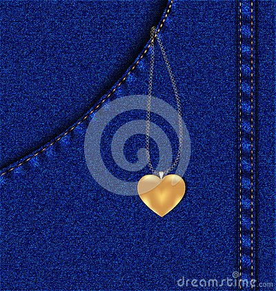golden heart in a jeans pocket