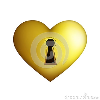 Golden heart with key hole