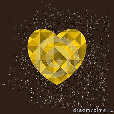 Golden heart, Vector Illustration