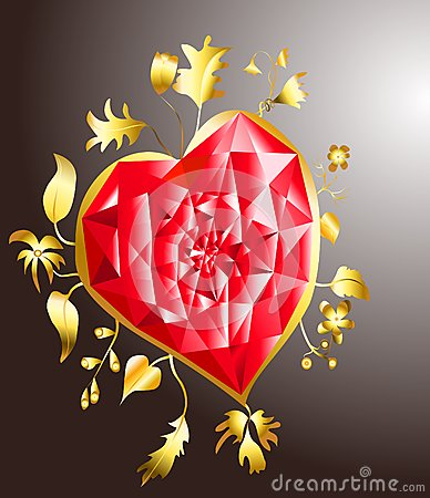 Golden heart with ruby