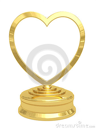 Golden heart shaped prize with blank plate