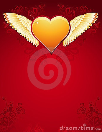 Golden heart with wings, vecto