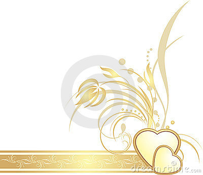 Golden hearts with decorative sprig on the ribbon
