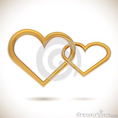 Golden hearts linked together