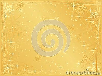Golden horizontal grunge christmas background