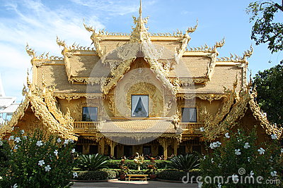Golden house in Thailand Editorial Stock Photo