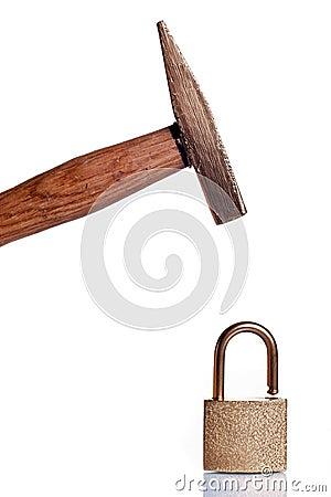 Golden hummer crushing golden padlock
