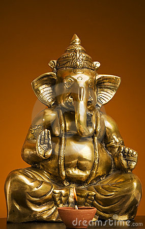 Golden Idol of Lord Ganesh Blessing Everyone