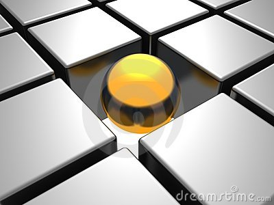 Golden individual  ball in others chrome cubes