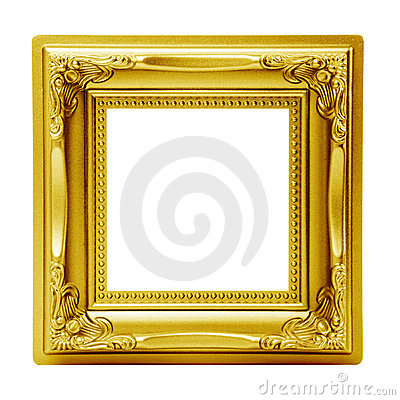 Golden isolated picture frame