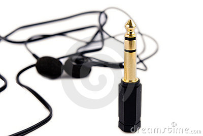Golden jack and headphones