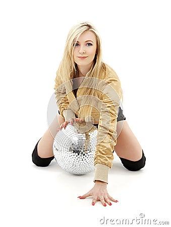 Golden jacket girl with disco ball #4