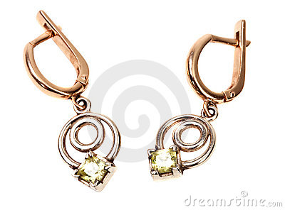 Golden jewellery earring