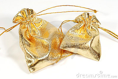 Golden jewelry bags
