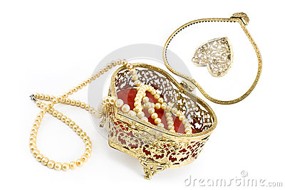 Golden jewelry box with  pearl necklace