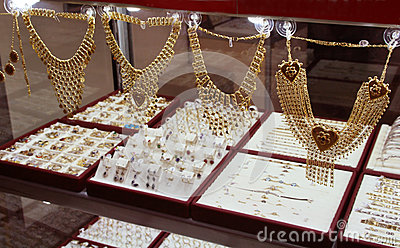 Golden jewels in shop. Istanbul