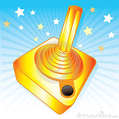 Golden joystick gamers award vector illustration