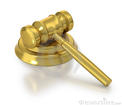 Golden judge s hammer at rest