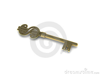 Golden key with dollar sign
