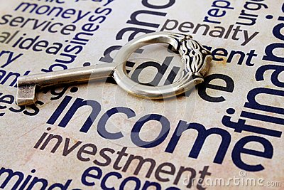 Golden key on income text