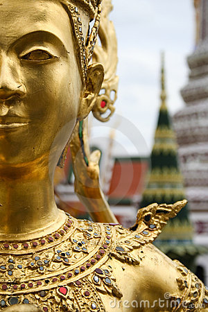 golden kinnari bangkok grand palace thailand