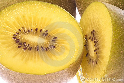 Golden Kiwi Fruits Macro Isolated