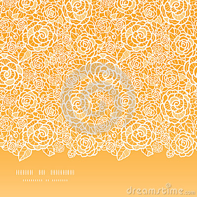 Golden lace roses horizontal seamless pattern