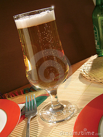 Golden lager beer drink