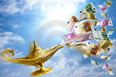 Golden lamp and money