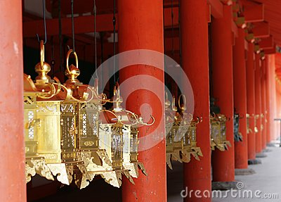 Golden Lanterns and Red Pillars