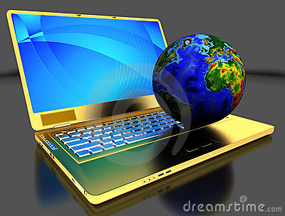 Golden laptop with globe