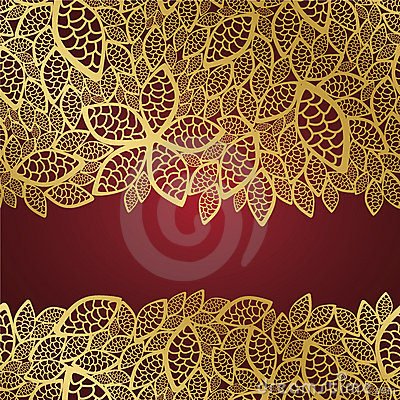 Free Golden Leaf Lace On Red Background Royalty Free Stock Photos - 16430338