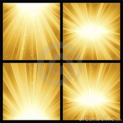 Golden light bursts