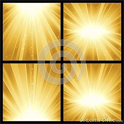 Golden light bursts