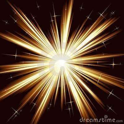 Golden light, star burst, stylized fireworks