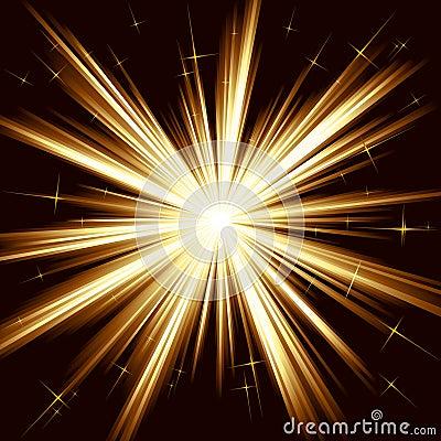 Golden light, star burst, stylized fireworks