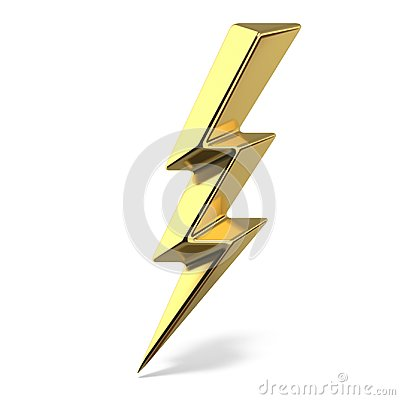 Free Golden Lightning Triple Symbol One Side Sharp 3D Stock Photos - 117263573
