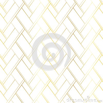 Golden lines on a white background. Vector abstract luxury seamless pattern. Backdrop for premium style package Vector Illustration
