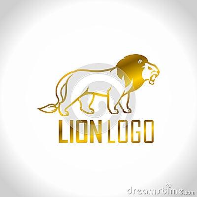 Golden lion - vector logo emblem Vector Illustration