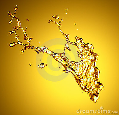Golden liquid splash