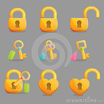 Free Golden Locks And Keys With Charms Royalty Free Stock Photography - 77192997