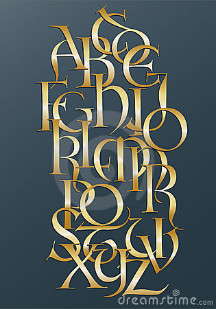 Free Golden Lombard Alphabet Royalty Free Stock Image - 15925426