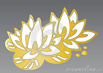 Golden lotus flowers