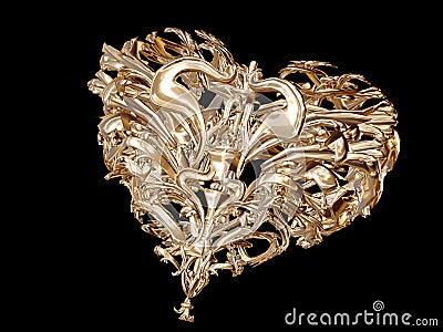 Golden love heart