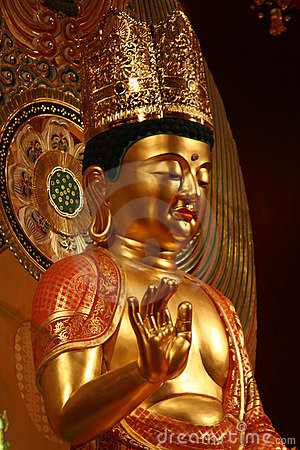 Golden maitreya buddha statue