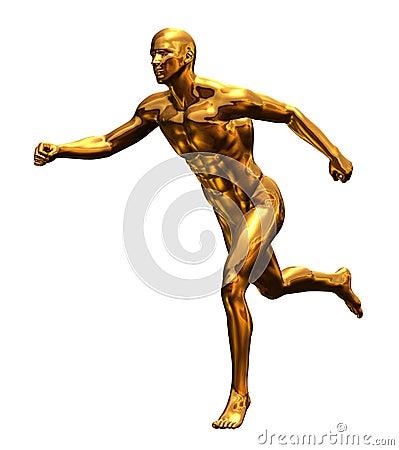 Golden Man Running - Front